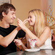 Young cople in cafe — Stock Photo #6114085