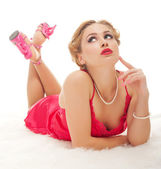 Pretty woman isolated — Stock Photo