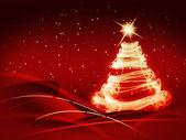 Abstrakt jul tre på röd bakgrund — Stockfoto