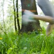Woman running outdoors in park - motion blur - Stock Photo