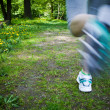 Stock Photo: Womrunning outdoors in park - motion blur