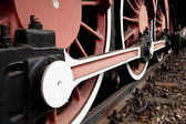 Close-up Detail of Retro Steam Train Wheels — Stock Photo