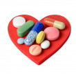 Stock Photo: Heart and Pills