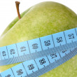 Stock Photo: Apple and measuring tape