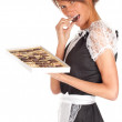 Waitress with chocolates box — Stock Photo