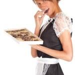 Waitress with chocolates box — Stock Photo