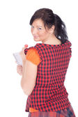 Girl with clipboard and lollipop — Stock Photo