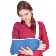 Young woman in arm sling — Stock Photo #5393403