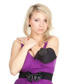 Mujer con el codo en vendaje médica — Foto de Stock