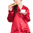 Woman with cake and coffee — Stock Photo