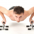 Stock Photo: Exercising shirtless man
