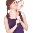 Girl with badminton rackets — Stock Photo