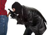 Thief - pickpocket in action — Stock Photo