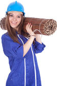 Woman in coveralls with wicker mat — Stock Photo