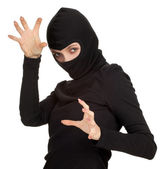 Female thief in balaclava — Stock Photo