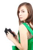 Winkelen vrouw met portefeuille — Stockfoto