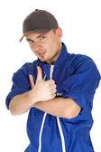 Junger mann im blauen overall — Stockfoto