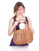 Woman with ostriches egg — Stock Photo