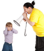 Little girl and screaming mother — Stock Photo