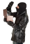 Male thief with jewelry box — Stock Photo