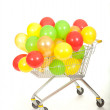 Balloons in shopping catr — Stock Photo