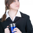 Businesswoman with big blue cup - Stockfoto