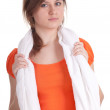 Young woman with towel — Stock Photo