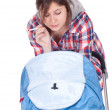 Smoking mother with baby  carriage - Stock Photo