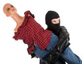 Thief with manequin — Stock Photo