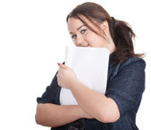 Fat girl with blank card — Stockfoto