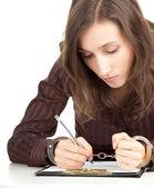 Mujer de escritura esposado — Foto de Stock