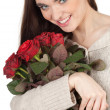 Girl with bouquet of roses - Stockfoto