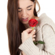 Girl with red rose - Stockfoto