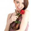 Stock Photo: Girl with red rose