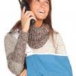 Calling young woman in arm sling — Stock Photo
