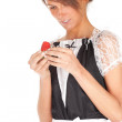 Waitress with strawberry — Stock Photo #5542085