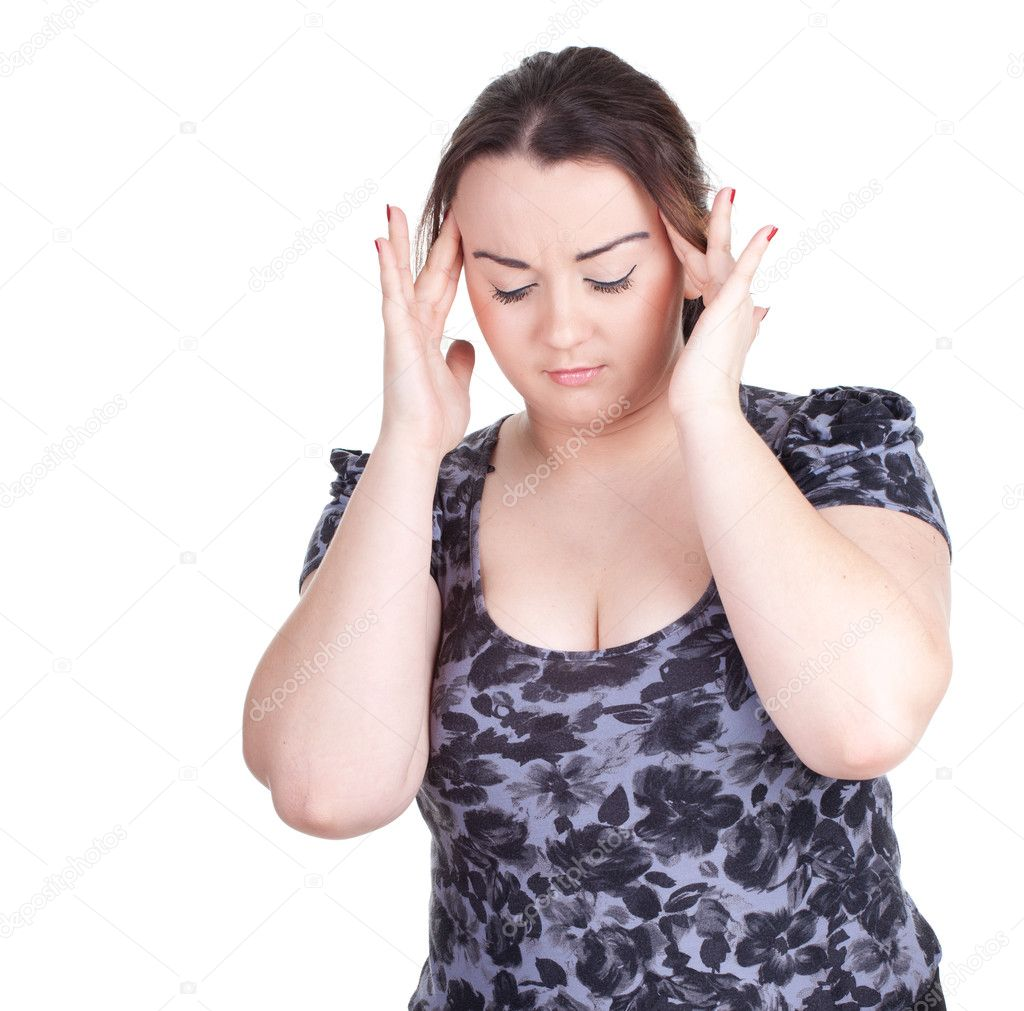 Suffering from  pain - young fat woman with headache  Stock Photo #5541396