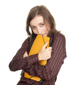 Student woman with note pads — Stock Photo