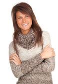 Woman in grey sweater — Stock Photo
