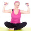 Woman with fitness weights — Stok fotoğraf