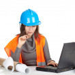 Writing female architect or engineer — Stock Photo