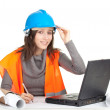 Writing female architect or engineer — Stock Photo #5813372