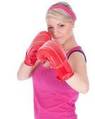Mujer joven en guantes de boxeo — Foto de Stock