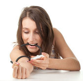Drug addict girl in action — Stock Photo