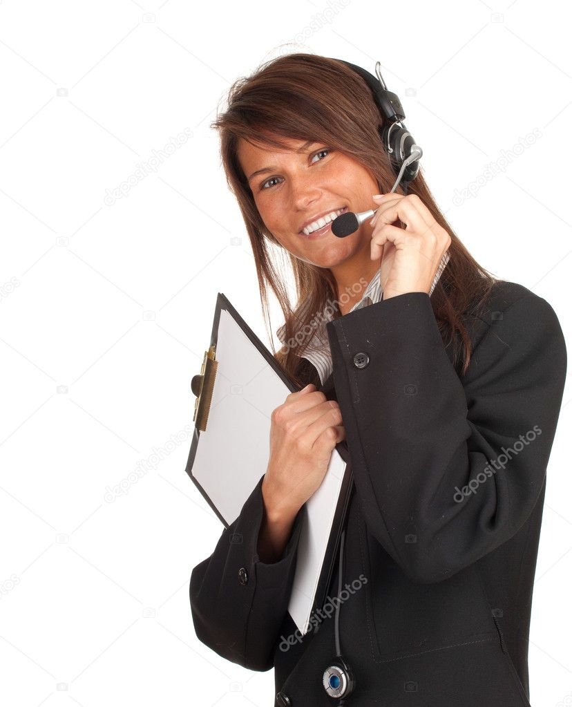 Happy young customer service operator girl wearing headset keeping clipboard — Stock Photo #5813751