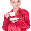 Stock Photo: Morning - young woman with coffee