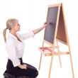 Teacher woman with blackboard — Stock Photo