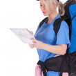 Female tourist with map — Stock Photo