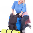 Young female tourist with backpack — Stock Photo