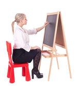 Teacher woman with blackboard — Stock Photo